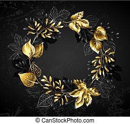 dorado, guirnalda, ramas, hojas