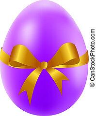dorado, huevo de pascua, cinta, arco