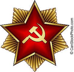 dorado, insignia, estrella, soviético, -, hoz, vector, martillo, rojo