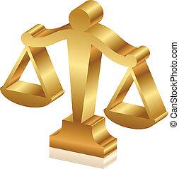 dorado, justicia, vector, sc, 3d, icono