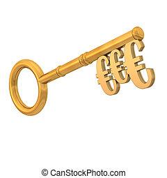 dorado, llave, euros