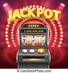 dorado, máquina, gana, ranura, jackpot.