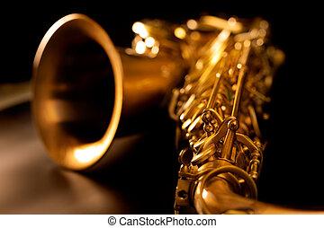 dorado, macro, foco, selectivo, saxófono, sax del tenor