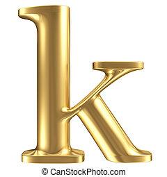 dorado, mate, joyería, minúscula, colección, k, carta, fuente