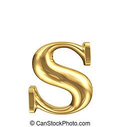 dorado, mate, joyería, minúscula, colección, s de carta, fuente