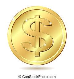 dorado, moneda, muestra del dólar