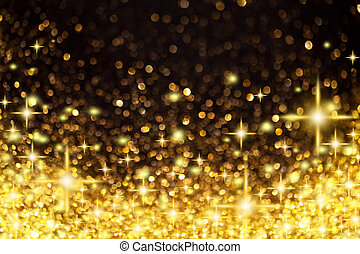 dorado, navidad, plano de fondo, estrellas, luces