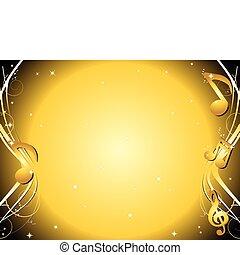 dorado, notas, música, plano de fondo