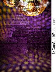 dorado, pelotas, pared, disco, reflejar, luces, dramático, espejo, oscuridad, ladrillo