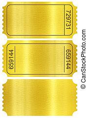 dorado, recorte, conjunto, stubs, aislado, included., trayectoria, blanco, boleto, set.