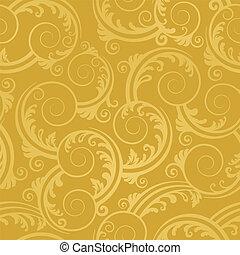 dorado, remolinos, papel pintado, seamless