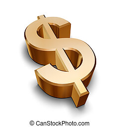 dorado, símbolo, dólar, 3d