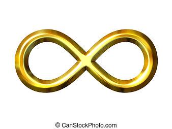 dorado, símbolo, infinito, 3d