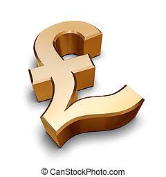dorado, símbolo, libra, 3d