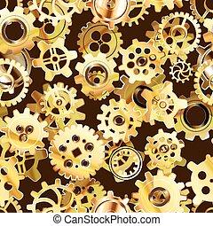 dorado, steampunk, seamless, mecanismo, aparato de relojería, patrón, ruedas dentadas