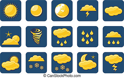 dorado, tiempo, iconos