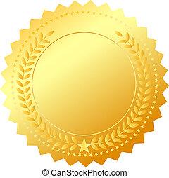 dorado, vector, emblema, premio