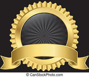 dorado, vector, etiqueta, cinta