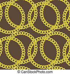 dorado, vector, seamless, cadena
