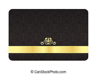 dorado, vendimia, etiqueta, vip, negro, patrón, tarjeta