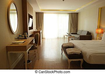 dormitorio, hotel, interior, morning.