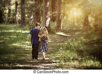 Dos amigos caminando por el camino
