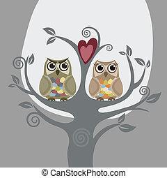 Dos búhos y un árbol de amor