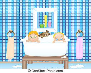 Dos bebés en el baño