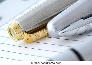 Dos bolígrafos en el cuaderno