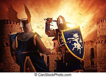 Dos caballeros luchando contra el castillo medieval.