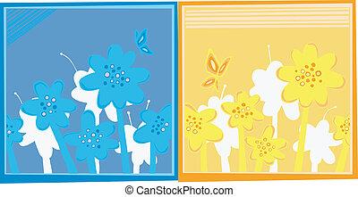 Dos cajas de flores