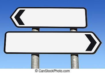 Dos caminos en blanco con espacio de copia.