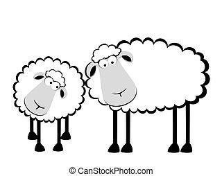 Dos caricaturas sonriendo ovejas