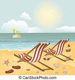 Dos chaise longue en la playa