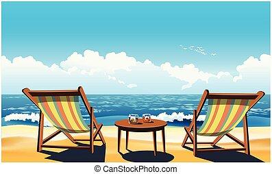 Dos chaises en la playa