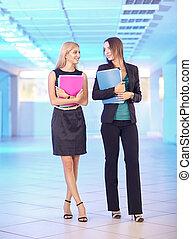 Dos chicas en la oficina con carpetas con papeles en la mano. Las jóvenes discuten sobre trabajo de oficina.