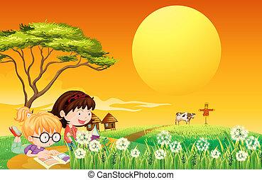 Dos chicas leyendo libros en la granja
