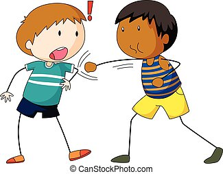 Dos chicos golpeando y golpeando