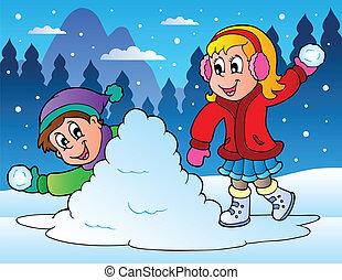 Dos chicos tirando bolas de nieve