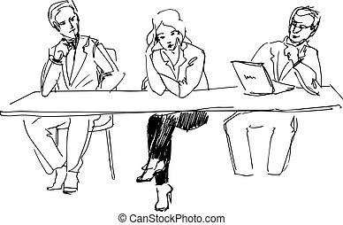 Dos chicos y una chica en la mesa