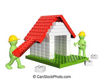 Dos constructores y casa de bloques de juguete de plástico 3D