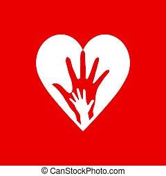 dos, corazón, manos