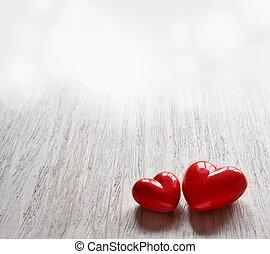 Dos corazones de caramelo para San Valentín.