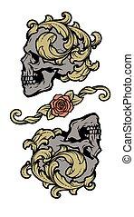 dos, cráneos, vendimia, vector, illustration., style.