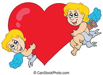 Dos cupidos sosteniendo el corazón