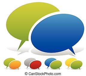 Dos discursos superpuestos, burbujas parlantes en combinaciones de colores