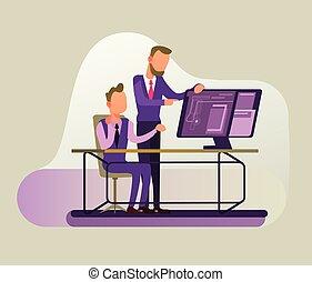 Dos empresarios manejan la estrategia de debate de negocios. Concepto de cooperación exitosa, dibujo plano ilustrado gráfico