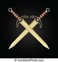 Dos espadas medievales aisladas