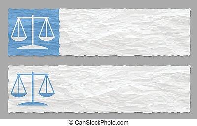 Dos estandartes con papel arrugado y símbolo de la ley