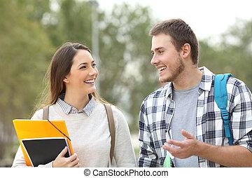 Dos estudiantes caminando y hablando